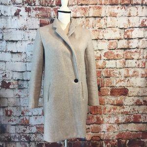 {Zara} basic outerwear off white wool coat